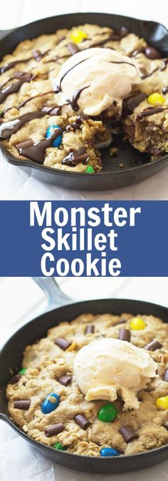 Monster Skillet Cookie -this pizookie is full of M&M's, chocolate chunks, peanuts and all wrapped up in an ooey gooey cookie!   countrysidecravings.com