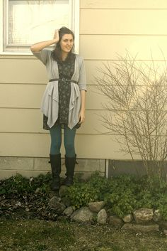 Wardrobe Wednesday: Color Me Teal Jessica Williams, Colored Tights, Grey Cardigan, Everyday Fashion, Military Jacket, Teal, Leggings, Lady, Jackets