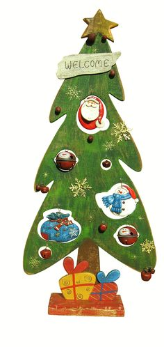 Wooden Christmas Tree Sculpture - Old Fashioned Christmas Look.  - Beautifully made Wooden X-Mas Tree decoration with metal ornaments hanging within the tree. Beautiful vintage look. Will be a holiday keepsake.