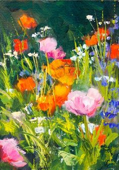 KMD2941 Fleeting by Colorado Fine artist Kit Hevron Mahoney 7x5, original oil, floral, poppies, painting by artist Kit Hevron Mahoney