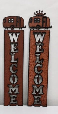Metal Camper Welcome Sign