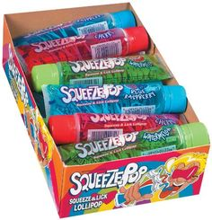 Hubba Bubba Squeeze Pop Assorted 4 oz Sweet Lollipops (Pack of 18) Hubba Bubba http://www.amazon.com/dp/B001D3NXT8/ref=cm_sw_r_pi_dp_35tXtb0SZF5Z0HRJ