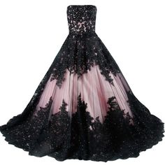 Kivary Vintage Black Lace A Line Long Corset Strapless Prom Wedding... ($190) ❤ liked on Polyvore featuring dresses and wedding dresses