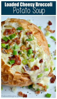 This Loaded Cheesy Broccoli Potato Soup is easy to make and is a crowd pleaser! Top with your favorite baked potato toppings like bacon, sour cream & green onions and serve in a fun bread bowl to complete the meal!