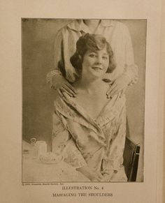 Massaging the shoulders. 1919 Domestic Health Society, Inc.