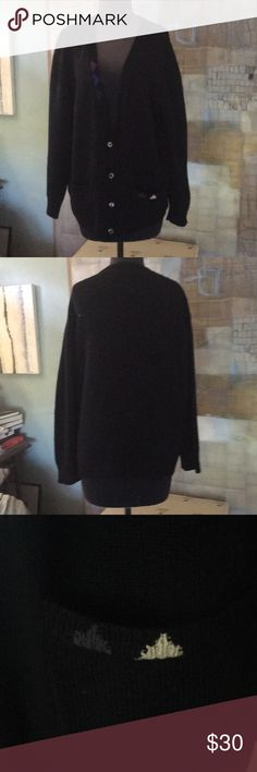 Lambs Wool and Cashmere Sweater Lambs Wool and Cashmere Cardigan Sweater  V-Neck front 93% Lambswool 7% Cashmere  Color Block detail green blue and purple on front left  Color Block triangle detail blue and white on the right pocket Colours by Alexander Julian Sweaters Cardigans