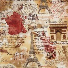 retro Paris Eiffel Tower fabric by Timeless Treasures sepia 1