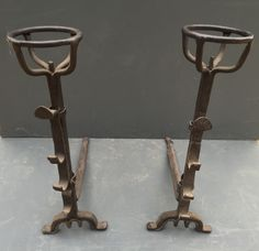 """PAIR OF 18TH CENTURY WROUGHT IRON CUP DOGS. H 26"""""""