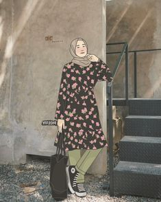 Casual Hijab Outfit, Ootd Hijab, Fashion Model Drawing, Hijab Drawing, Hijab Cartoon, Hijabi Girl, Drawing Clothes, Woman Drawing, Muslim Women