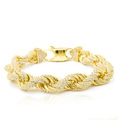 Iced Out Rope Bracelet Description: Iced out rope bracelet with a high-end yellow gold Finish. This rope chain has a width of which makes it 9ct Gold Bracelet, Diamond Bracelets, Bracelets For Men, Bangle Bracelets, Bangles, Modern Jewelry, Gold Jewelry, Fine Jewelry, Jewellery
