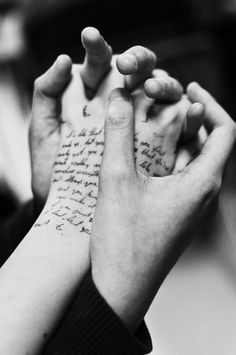 """What's all this writing on your hand?"" he asks taking a hold of my hand ""Notes."" I reply. He leans closer to start reading the scribbled writing but I yank my hand away ""That's private."" I tell him. He smirks ""Why?"" he asks ""Did you write something about me?"" I bite my lip ""Maybe."""