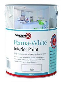 MUST be the SATIN finish for bathroom ceilings. [Available from Screwfix.com] Zinsser Self-Priming Paint White 1Ltr. Find out more about Perma-White® (Interior) by Zinsser.