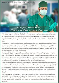See This  Surgery Residency Personal Statement HttpWww