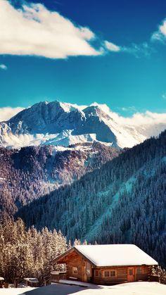 Mountains-Chalet-Winter-Landscape-iPhone-6-Plus-HD-Wallpaper.