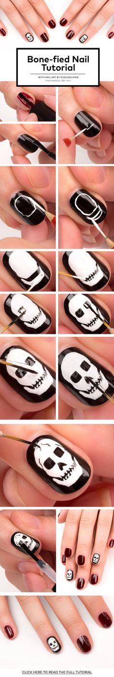 35 Killer Skull Nail Art Designs for Halloween - Meet The Best You Skull Nail Art, Skull Nails, Cute Halloween Nails, Halloween Nail Designs, Easy Halloween, Seasonal Nails, Holiday Nails, Diy Nails, Cute Nails