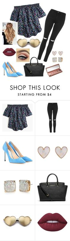 """""""Camryn"""" by curlyycarlii on Polyvore featuring J.Crew, Topshop, Jimmy Choo, New Look, Kate Spade, Michael Kors, Wildfox, Lime Crime and Urban Decay"""