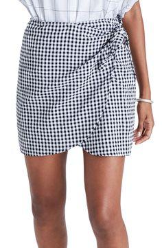 Gingham Wrap Miniskirt