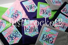 Lobstah Roll Lilly Pulitzer Fabric - Embroidered Sorority Big Little GBig GGBig Pocket Tshirt