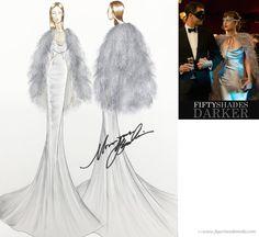 El figurín de moda de la diseñadora Monique Lhuillier para el vestuario de Dakota Johnson en la película - 50 Sombras más Oscuras - Fifty Shades Darker - #FiftyShadesDarker #fashion #sketches www.figurinesdemoda.com