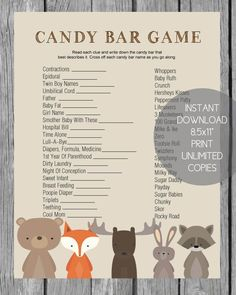 Home Decor Living Room Baby Shower Candy Bar Game - Woodland Animal Theme - Print It Baby.Home Decor Living Room Baby Shower Candy Bar Game - Woodland Animal Theme - Print It Baby Baby Shower Candy, Baby Shower Prizes, Shower Bebe, Baby Boy Shower, Shower Favors, Animal Baby Showers, August Baby Shower, Baby Shower Quotes, Shower Invitations