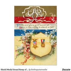 Shield Medal Grand Army of The Republic Flowers 5x7 Paper Invitation Card