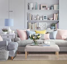 Neutral canvas with soft hints of pastel furnishings!