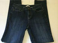 Christopher & Banks  Denim Jeans Womens Size 8 Dark Wash Straight Leg Bling #ChristopherBanks #StraightLeg