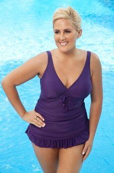 Women's Plus Size Swimwear - Always For Me Chic Solids Barcelona 1 Pc Swimdress  Style #80874wa - Sizes 16W-26W - BEST SELLER $89