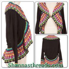Crochet color block cardigan Shannasthreads.com