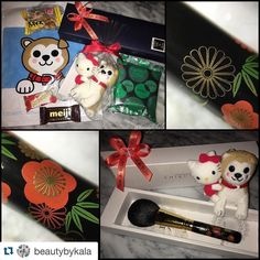 #Repost @beautybykala with @repostapp.  Another amazing order made possible by @fudejapan  Chikuhodo Miyabi powder brush Hachi & Kitty chan keychain & some Japanese sweets/ chocolates to try out! Everything is packaged so beautifully! The design on the brush handle is absolutely gorgeous!!  Thanks so much Toshiya!  #fudejapan #japanese #japanesebrushes #chikuhodo #chikuhodobrushes #japanesecandy #japanesesweets #brushlover #japanesemakeupbrushes #makeuplover #miyabi #beautybykala