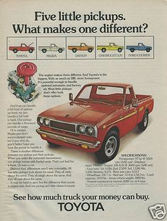 "1973 Red TOYOTA HiLux N20 ""5 Little Pickups, What Makes One Different?"" Ad"