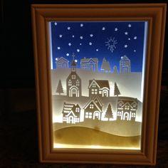 Stampin up hometown greetings edgelits dies  lighted shadow box