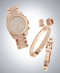 Michael Kors Women's Chronograph Blair Blush and Rose Gold-Tone Stainless Steel Bracelet Watch 39mm MK5943 $295