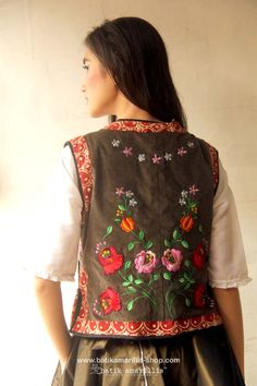 Batik Amarillis's folklore 2015 vol 2 splendid  Hungarian embroidery vest with Tenun batik gedog Tuban of Indonesia accented with unique wooden buttons ..enjoy our beautiful ethnic inspired collection and spectacular Hungarian folk art embroidery..