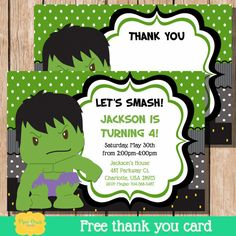 Hulk Invite Hulk Invitation Superhero Invite by PiperGraceDigital