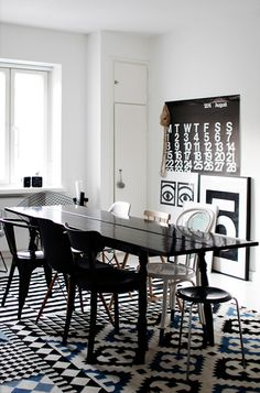Black, white & blue colour theme, featuring a Palermo rug from Gun Rugs, and a Stockholm Rand from Ikea.