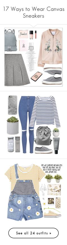 """17 Ways to Wear Canvas Sneakers"" by polyvore-editorial ❤ liked on Polyvore featuring canvassneakers, waystowear, T By Alexander Wang, MANGO, Bare Escentuals, Pusheen, Superga, Nails Inc., MICHAEL Michael Kors and Topshop"