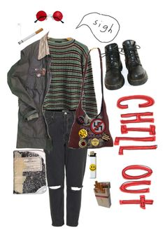 """Dang hippies"" by caroline-is-pop-punk ❤ liked on Polyvore featuring Prada, Topshop, Vintage, Plane, Ultimate, Dr. Martens, grunge, 70s and hippy"