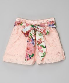 Pink Lace Belted Shorts - Toddler & Girls #zulily #zulilyfinds