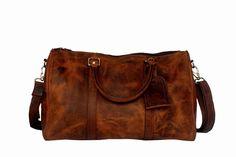Mens Shoulder Duffel Bag Brown Premium Leather Overnight Travel Carry On Weekend #RusticTown #DuffleGymBag http://www.ebay.com/itm/-/152375138002?ssPageName=STRK:MESE:IT