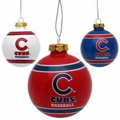 Chicago Cubs 3-Pack of Glass Ball Ornaments