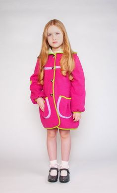 Viola Pink sizes M - $351 by Little Mizzi | Cosy light wool coat with lovely deer appliqué, pillow lace frills, hoody and pockets. Fully lined with pure cotton and  easy to close with velcro fastener.  100% boiled wool Lining: 100% cotton | #Jackets