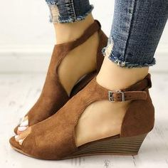 25f8dd9a17f6 Large Size Ankle Strap Peep Toe Wedge Sandals Peep Toe Wedges