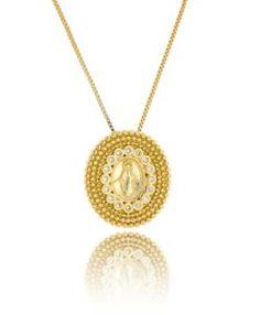 colar santa dourado com zirconias semijoias