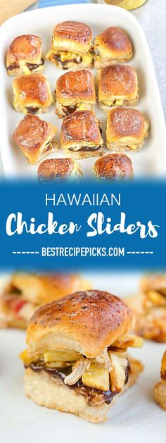 Hawaiian Chicken Sliders are the perfect easy appetizers for feeding a crowd. Best of all, they come together in less than 30 minutes with tender chicken, sweet pineapples and gooey cheese. Serve these delicious burgers for game day, summer parties, barbe Best Appetizers, Appetizer Recipes, Dinner Recipes, Party Recipes, Sandwich Recipes, Lunch Recipes, Walnut Chicken Recipe, Chicken Recipes, Potlucks