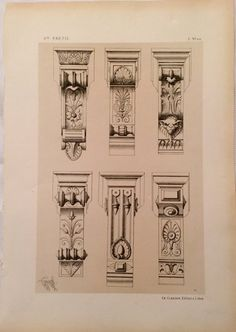 Items similar to Antique Architectural Ornamental Design Drawing Print 1866 by Lienard Suitable for Framing on Etsy Architectural Antiques, Architectural Elements, Carving Designs, Fireplace Mantels, Drawing Reference, Architecture Details, Designs To Draw, Wood Carving, Geometry