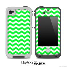 Lime Green Chevron Pattern Skin for the iPhone 4/4s or 5 LifeProof Case on Etsy, $9.99