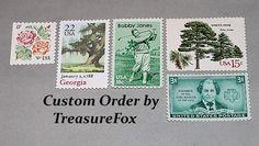 Reserved Custom Order for Erin .. Unused Vintage US Postage Stamps by TreasureFox on Etsy
