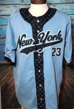 O.X Jackpot New York MLB Baseball Jersey #23 Light Blue Sz XL NY  | eBay
