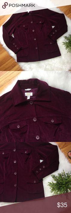 Description  Talbots Burgundy colored Velvet Jacket Cotton Spandex Machine  washable Size Sold by Fast delivery 771ed3838
